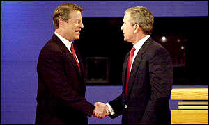 Al Gore and George Bush shake hands