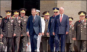 Turkish Prime Minister Bulent Ecevit, 4th left, Chief of Staff General Huseyin Kivrikoglu, left,