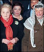 Albright, Laila Shahid (Palestinian mission head in Paris) and Arafat