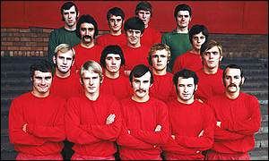 Kevin Keegan, (second from left, second row) starts his career as an appretice at Scunthorpe United in 1969.