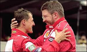 Michael Schumacher (left) and Ross Brawn