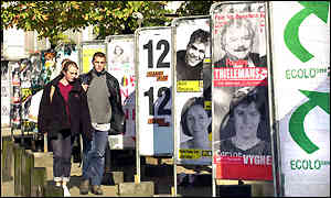 Election posters in Belgium