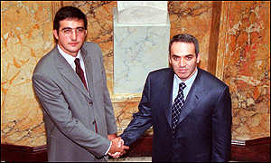 Kasparov (right) shaking hands with his challenger Kramnik