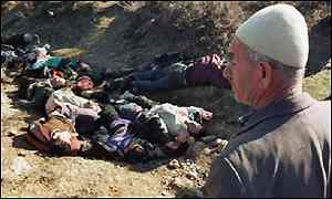 A mass grave found near the village of Racak, Kosovo in January 1999. (BBC News photo)