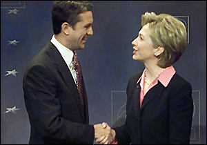 Rick Lazio and Hillary Clinton shake hands