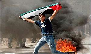 Palestinian youth taunts Israel forces