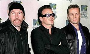 The Edge, Bono, and Larry Mullen at last year's MTV Europe Music Awards