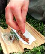 Cannabis cigarette being rolled