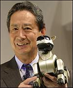 Sony Chairman Nobuyuki Idei with Aibo