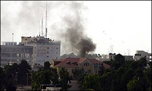 Smoke could be seen rising from Ramallah after the Israeli rocket attack