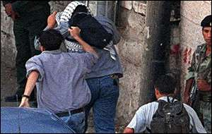 Lynching scene in Ramallah