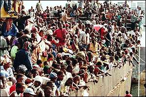 Liberian refugees fleeing Liberia
