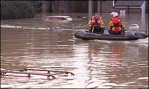 Rescuers in Lewes, East Sussex