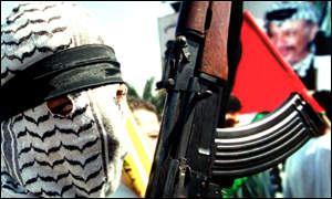 A member of Hamas demonstrates