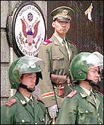The US consulate in Shanghai under guard