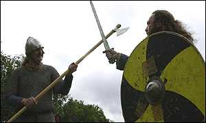 Two Saxons limber up for the re-enactment