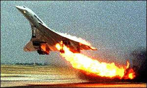 Air France Concorde, on fire during take-off