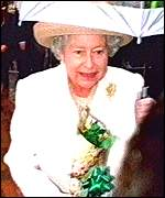 The Queen accepts the bouquet