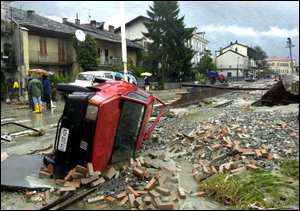 upturned car in italian street