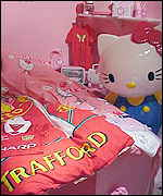 Hello Kitty and Manchester United merchandise