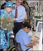 HM The Queen visits a computer train