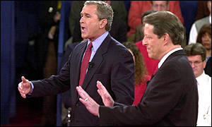 Al Gore and George W Bush debate