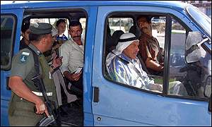 Israeli police check Palestinian vehicle on West Bank