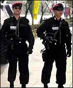 Police on patrol in Seoul