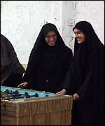 Iranian women playing table football