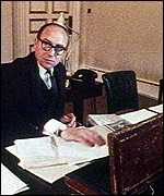 Roy Jenkins as Chancellor of the Exchequer with Red Box