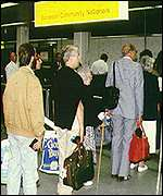 An airport queue