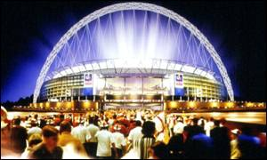 Artist's impression of the planned new Wembley National Stadium
