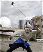 Palestinian with slingshot