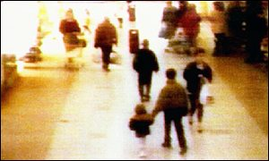CCTV footage of Jon Venables and Robert Thompson leading James Bulger away