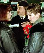 Kursk widows Irina Shubina (left) and Oksana Silogova
