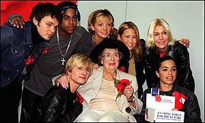 S Club 7 and Dame Thora Hird