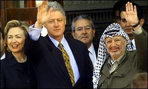 Hillary Clinton, Bill Clinton and Yasser Arafat