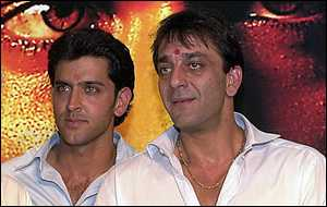 Hrithik Roshann (left) and Sanjay Dutt (right)