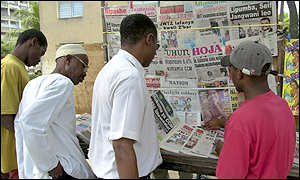 Newspaper stand on Zanzibar