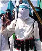 Hamas supporter with grenade and