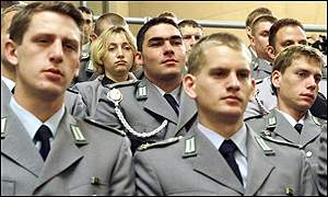 German soldiers watch the parliament debate