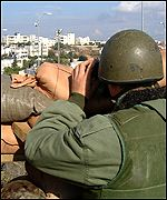 An Israeli soldier watching Ramallah, Jewish settlement near Ramallah
