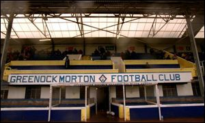The ramshackle main stand at Cappielow