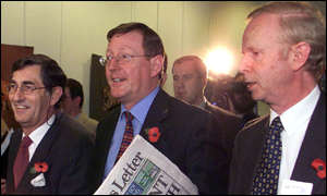 UUP leader David Trimble leaves press conference