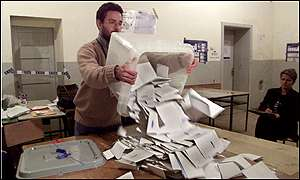 Elections official emptying ballot box