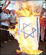 Israel flag burning protest in Indonesia