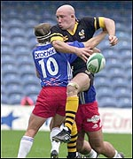 Phil Greening tries to break through