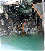 Hole in the side of the USS Cole from blast
