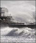Waves lash Selsey Bill, October 2000