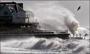 Properties at Selsey Bill, West Sussex, along the south coast were battered by storms